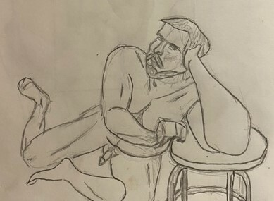 Paul leaning his elbow on a stool - 10-minute timed pencil sketch