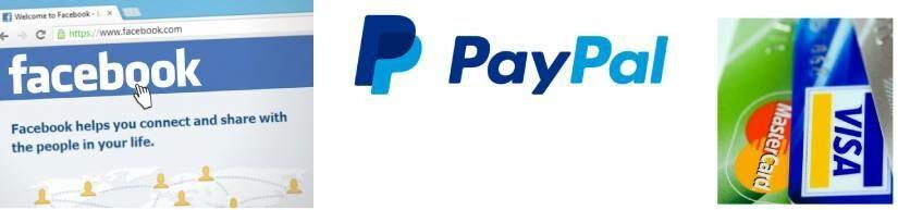 facebook, paypal, visa, master card