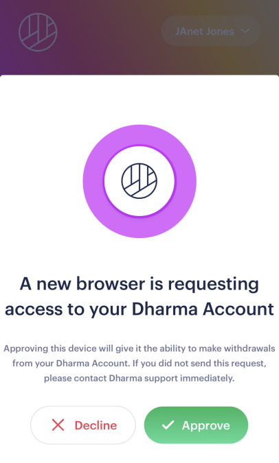 screenshot of the dharma.io app