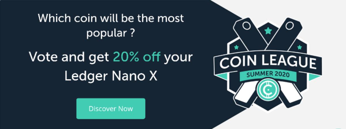 Coin League 20% off ledger Nano X hardware wallets