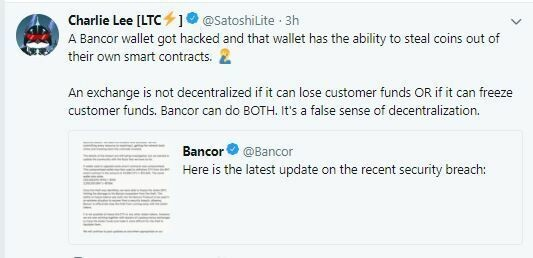 Charlie Lee Tweet on Bancor Hack