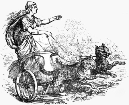 Freyja pulled in cart by her cats Bygul and Trjegul