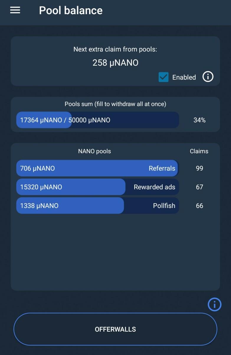 Screen shot of Pool Balance screen - TipNano