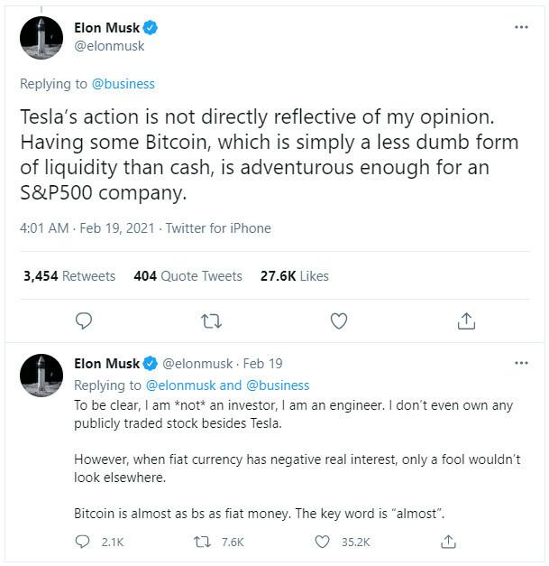Elon Musk's Twitter comment