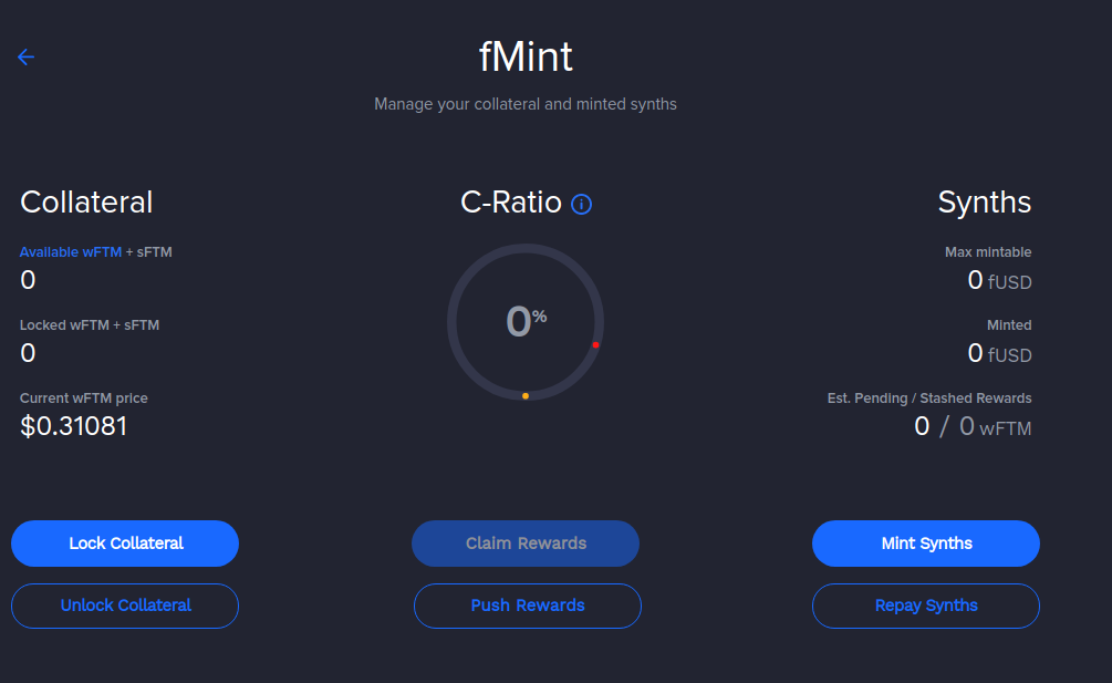 Manage your collateral and minted synths