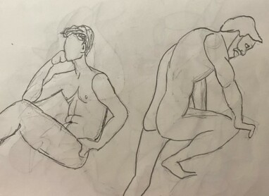 Briden in two poses - 3-minute timed pencil sketches