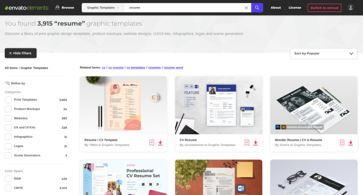 Envato Elements | Resume Search in Graphic Templates