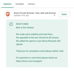 Brave update on Android Play Store