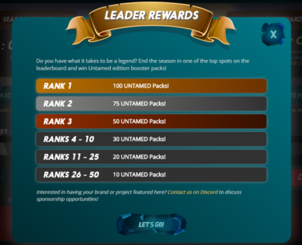100 Untamed Boosters for 1st Place!