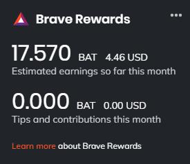 Brave BAT estimated earnings