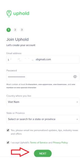 chữ ký cho Uphold
