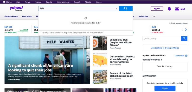 Yahoo search results EIFI