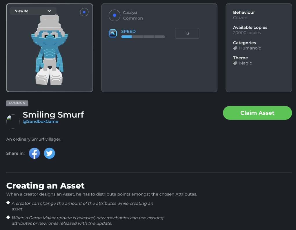 Smurf NFT on The Sandbox website