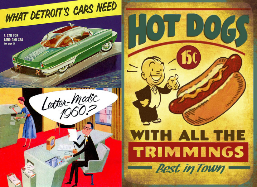 Vintage advertisements retro futurism atompunk classic font typeface