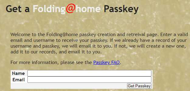 Folding@home passkey page