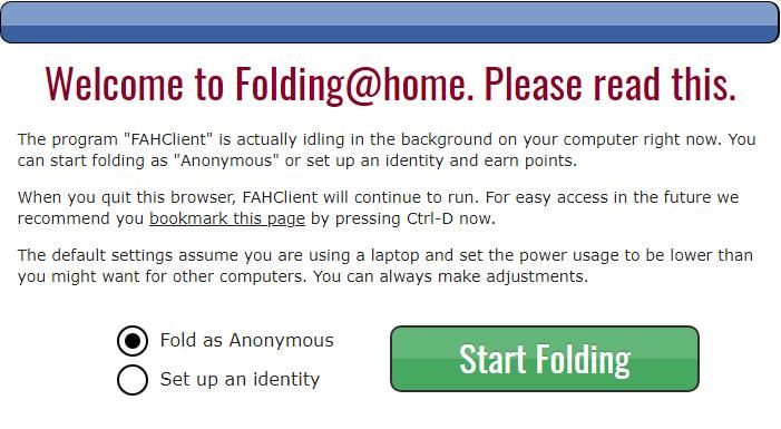 Folding@home welcome screen