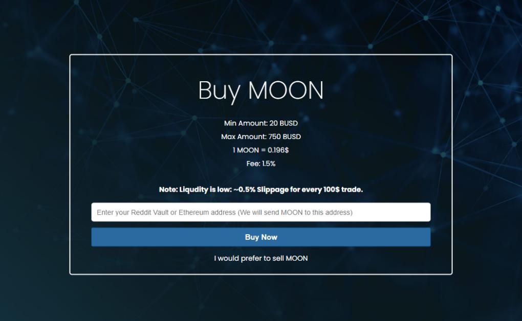 Buying Moons on MoonsSwap