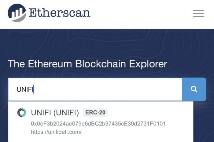 UNIFI DeFi became Etherscan Verified