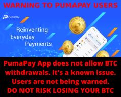 ⚠ WARNING TO PUMAPAY & BITCOIN USERS ⚠