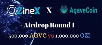 Ozinex and AGVC Airdrop Round 1/ Value: 170 OZI [$17] + 300 AGVC [~$3.4] / No Referral Program