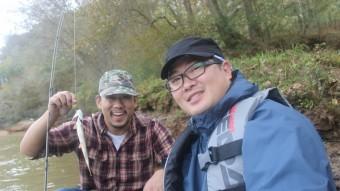 Friends on a canoe