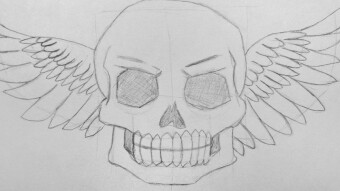 Drawing a Winged Skull
