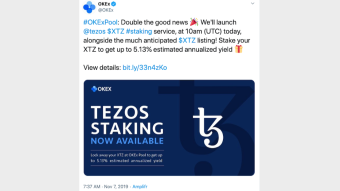 After Coinbase made it possible to stake Tezos on their exchange, OKEx will do the same today.