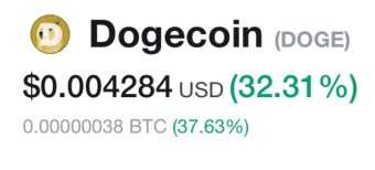 Dogecoin up 32% this morning  ... added to Binance today.