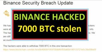Binance Hacked!!!  7000 BTC STOLEN!!!