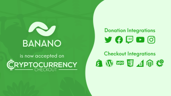 BANANO is now accepted on CryptoCurrencyCheckout!