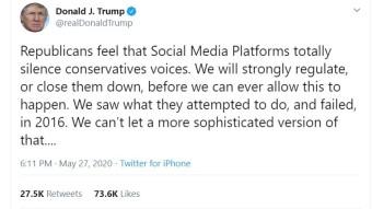 Trump threaten to close social media.