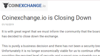 Cryptocurrency Exchange Coinexchange.io is Closing Down
