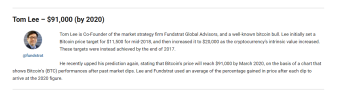 Bitcoin price prediction 91 000$ by 2020
