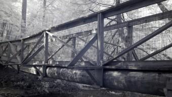 Log Bridge across the creek - Infrared Photography