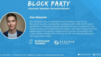 Update on the Blocknorth and Syscoin Platform Block Party, Amsterdam, November 7! Get your tickets now!!