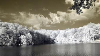 Radio towers across the lake - Infrared Photography