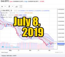 DAI exchange. Prices to USD, BTC, ETH: July 8, 2019, 12 h. UTC