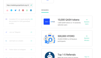 Participate in Hydro's reward campaign to receive HYDRO and QASH tokens!