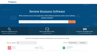 Capterra - earn by writing a short review and evaluating Software
