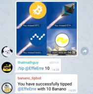 Banano Telegram Tipbot and New Groups Launched! Get free BANANO at the launch party!