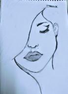 Kadın Yüzü Çizimi / Woman face drawing.