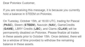 Poloniex Exchange Delisting STEEM Coin