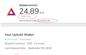 Brave Browser - Update of my earnings until the month of October 2019