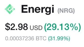 Energi (NRG) Token up 30% today