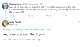 OKEx and Coinbase staking their Tezos as of today. Kraken announced to make Tezos staking possible soon.