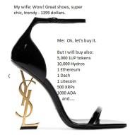 Shoe price in cryptos