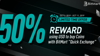 Last day Bitmart bonus 50% Reward to Buy Coins using USD, Max 100 USD