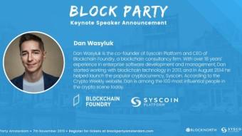 Blocknorth and Syscoin Platform Present: Block Party Amsterdam, November 7, 2019!
