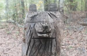 Bear sculpture made from tree stump