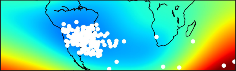Increased occurrence of radiation-induced technical satellite failures of the Swarm satellites (white spots) in the region of the geomagnetic South Atlantic Anomaly (blue color = reduced field intensity) between April 2014 and June 2017. Credit: I. Michaelis, GFZ